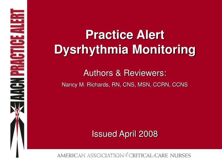 practice alert dysrhythmia monitoring n.