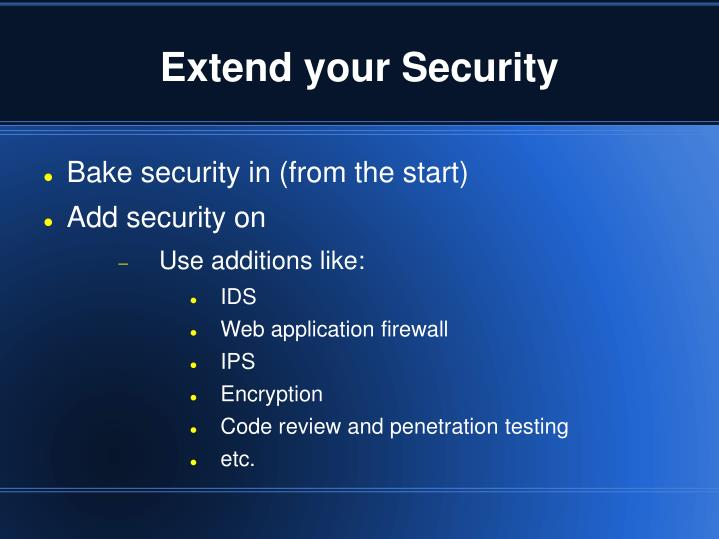 Extend your Security