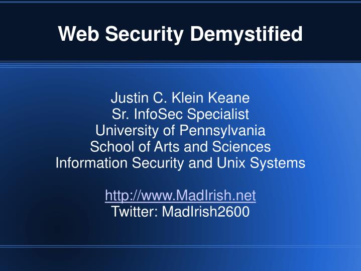 Web security demystified