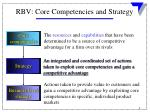 rbv core competencies and strategy