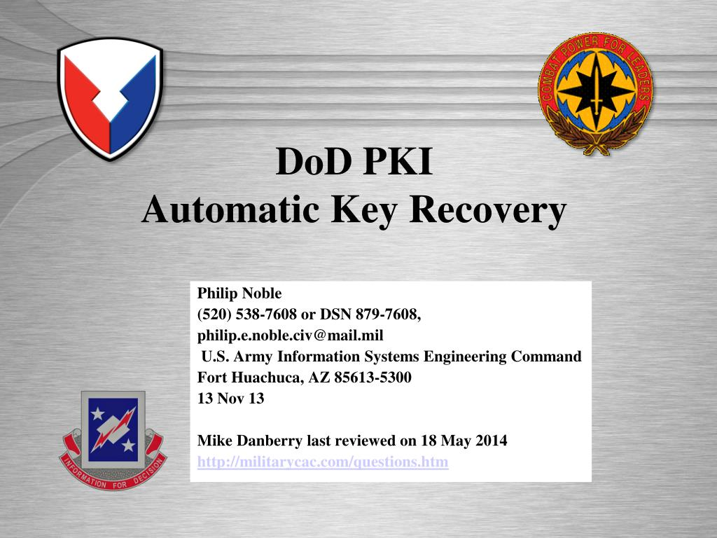 Ppt Dod Pki Automatic Key Recovery Powerpoint Presentation Id