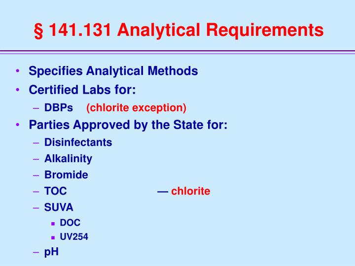 § 141.131 Analytical Requirements