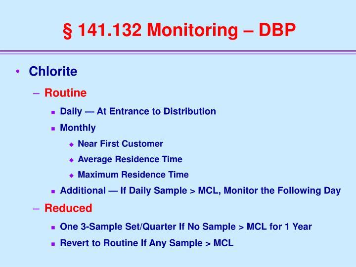 § 141.132 Monitoring – DBP