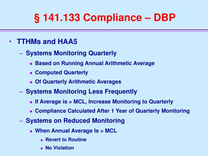 § 141.133 Compliance – DBP