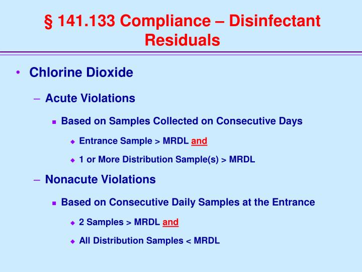 § 141.133 Compliance – Disinfectant Residuals
