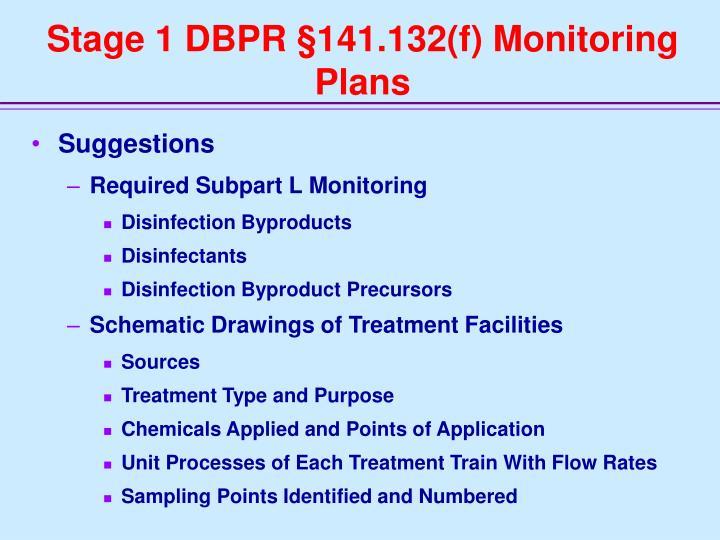 Stage 1 DBPR §141.132(f) Monitoring Plans
