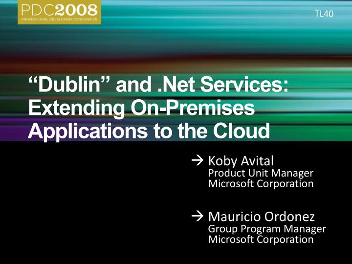 dublin and net services extending on premises applications to the cloud n.