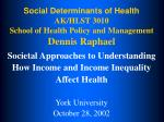 social determinants of health ak hlst 3010 school of health policy and management dennis raphael