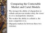comparing the contestable market and cartel models