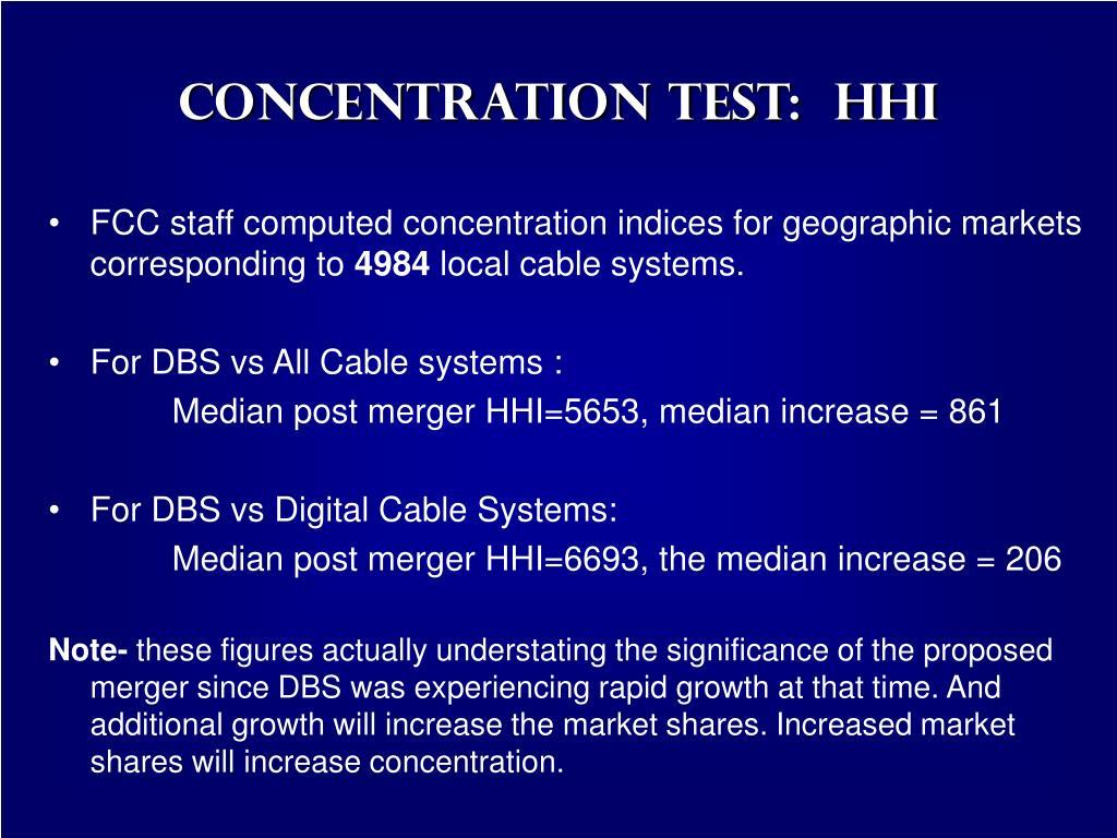 Concentration Test:  HHI