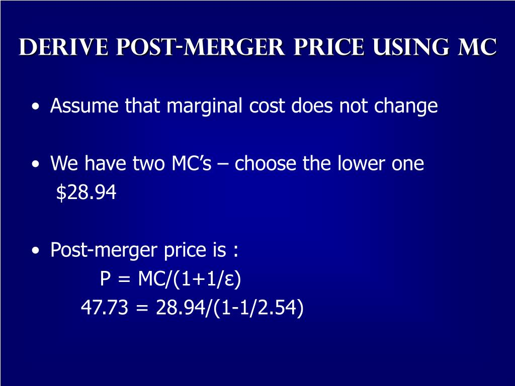 Derive Post-Merger Price using MC
