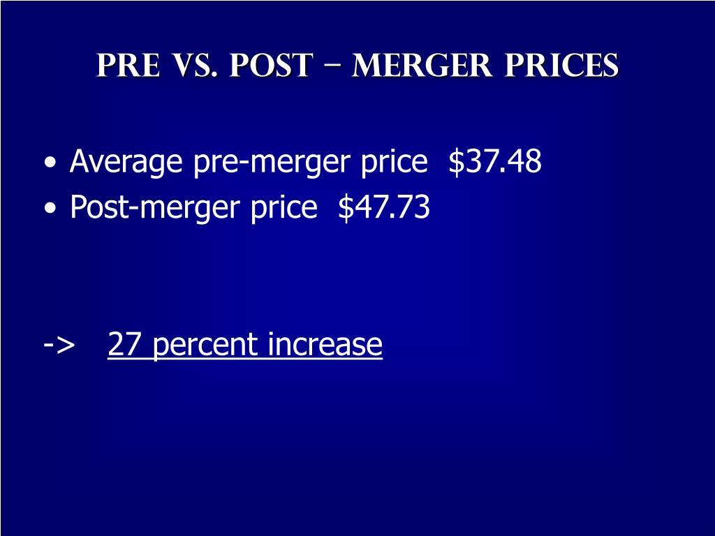 Pre vs. post – merger prices