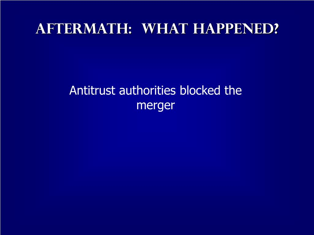 Aftermath:  What Happened?