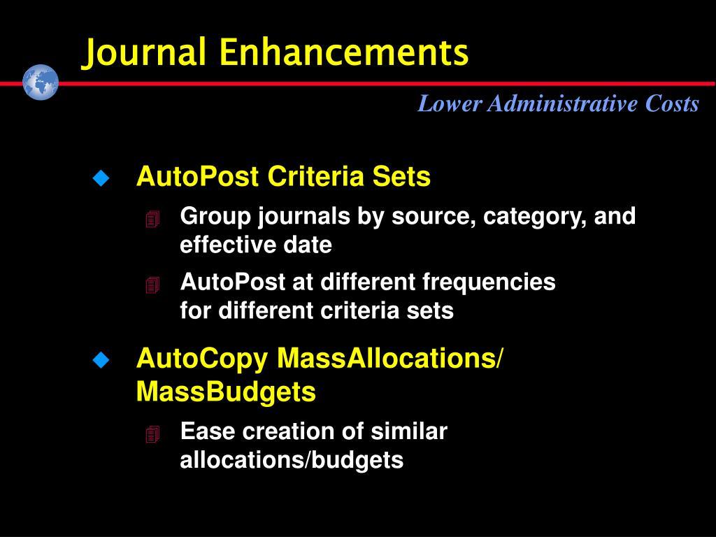 Journal Enhancements