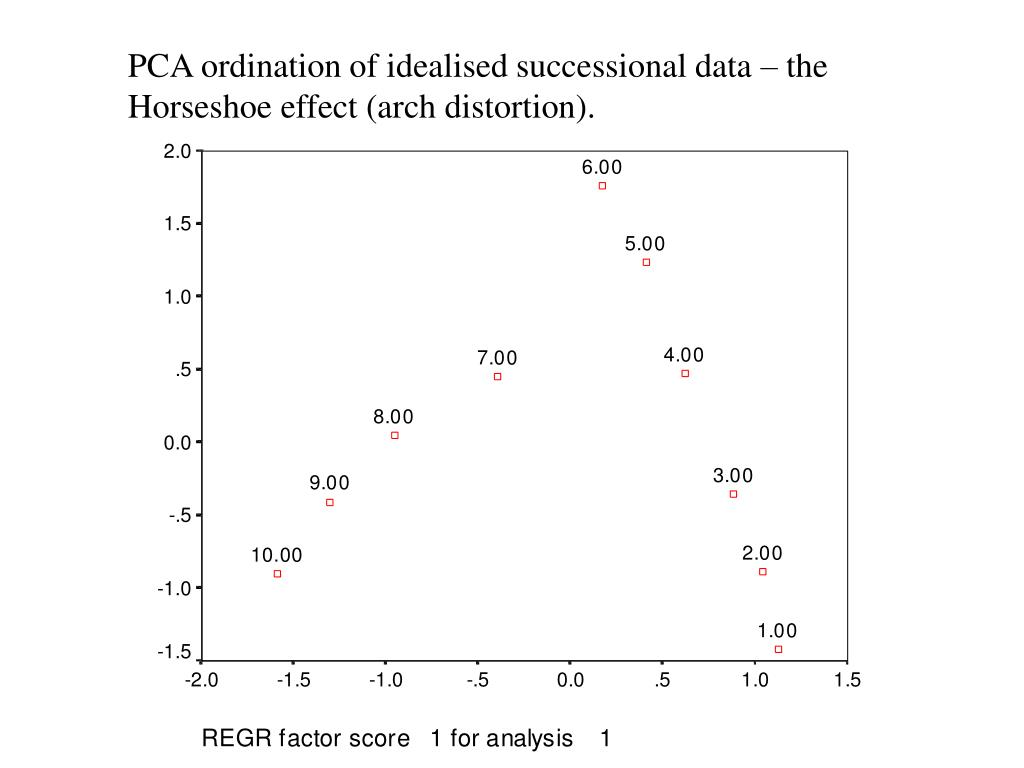 PCA ordination of idealised successional data – the Horseshoe effect (arch distortion).