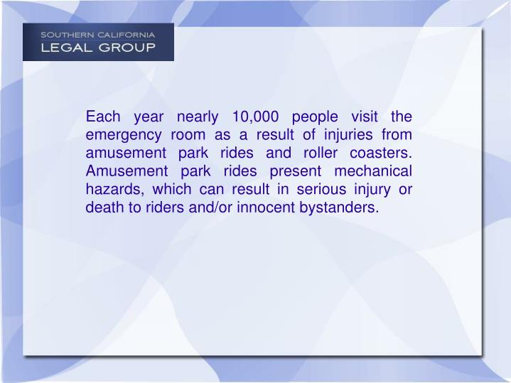 Each year nearly 10,000 people visit the emergency room as a result of injuries from amusement park ...