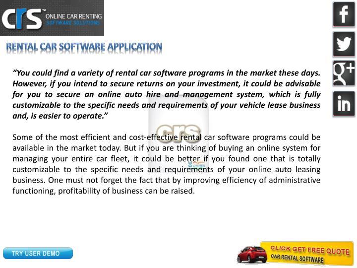 Rental Car Software Application