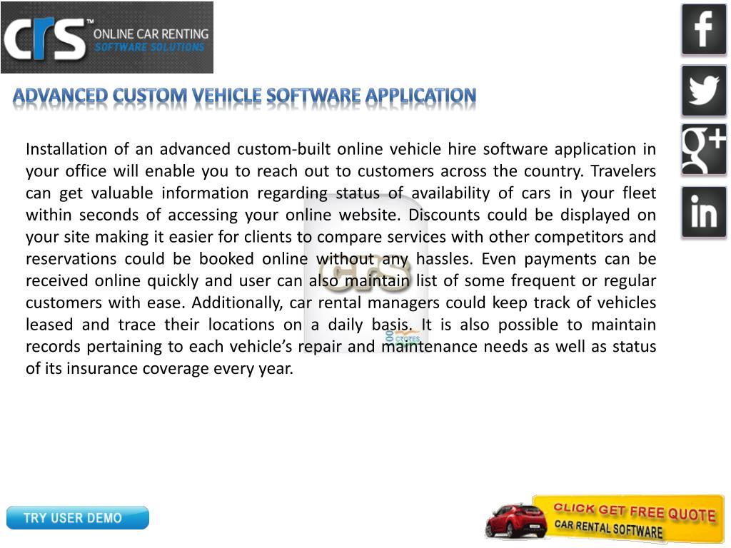 Advanced Custom vehicle software Application