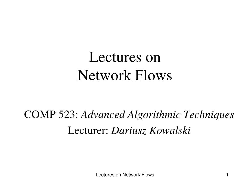 lectures on network flows l.
