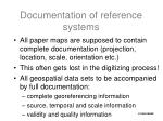 documentation of reference systems