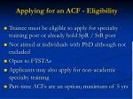 applying for an acf eligibility