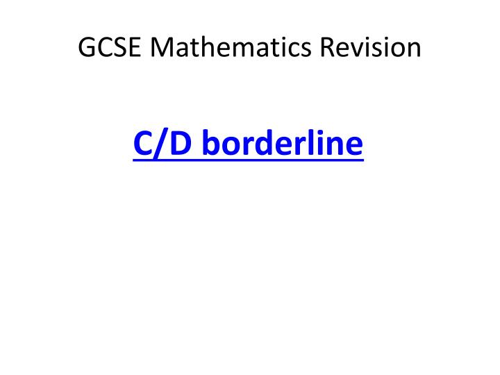 gcse mathematics revision n.
