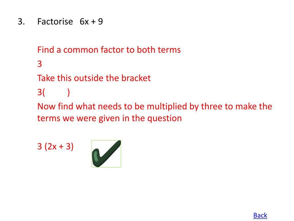 Factorise   6x + 9