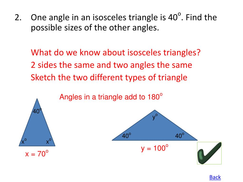 Angles in a triangle add to 180