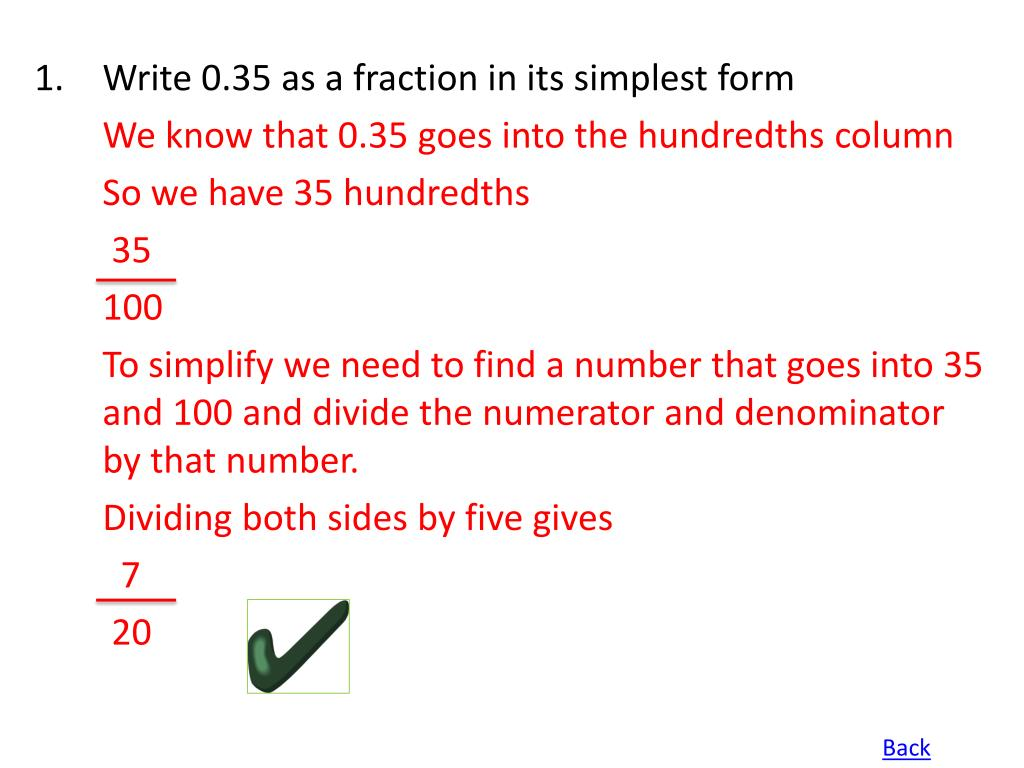 Write 0.35 as a fraction in its simplest form