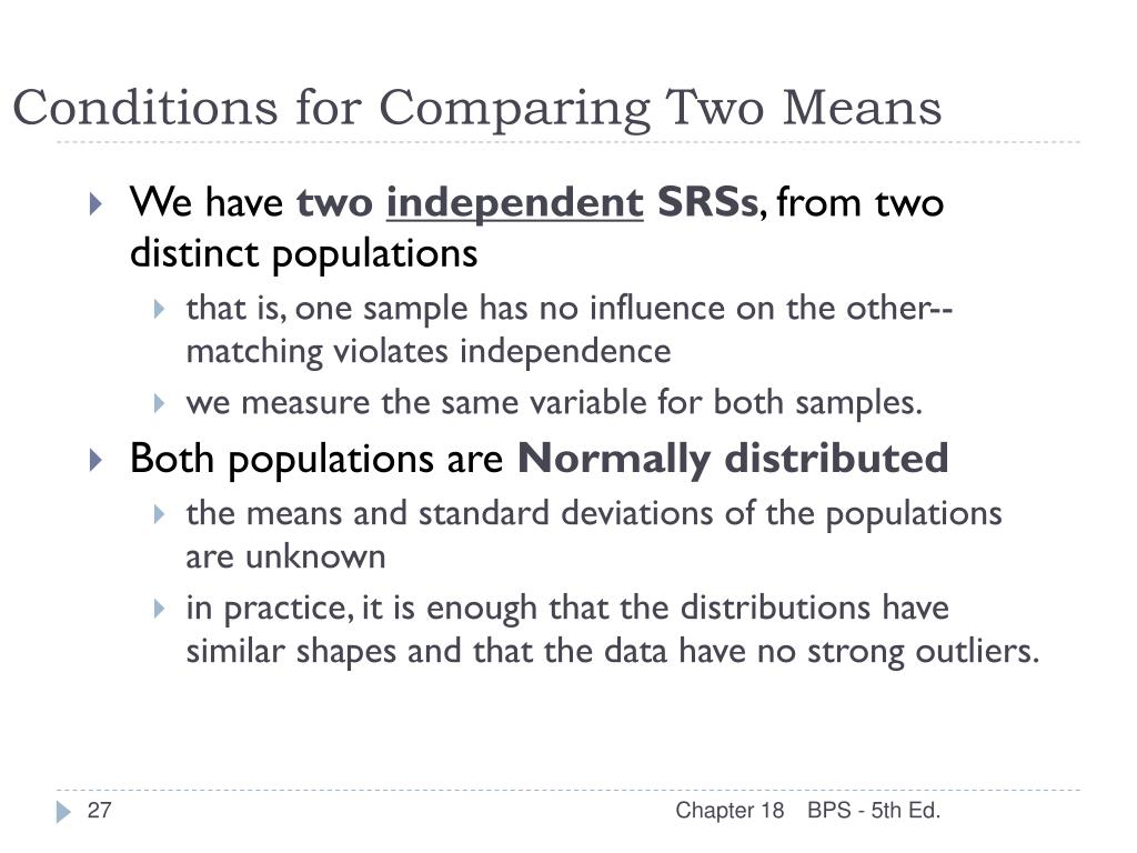 Conditions for Comparing Two Means