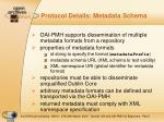 protocol details metadata schema