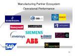 manufacturing partner ecosystem operational performance