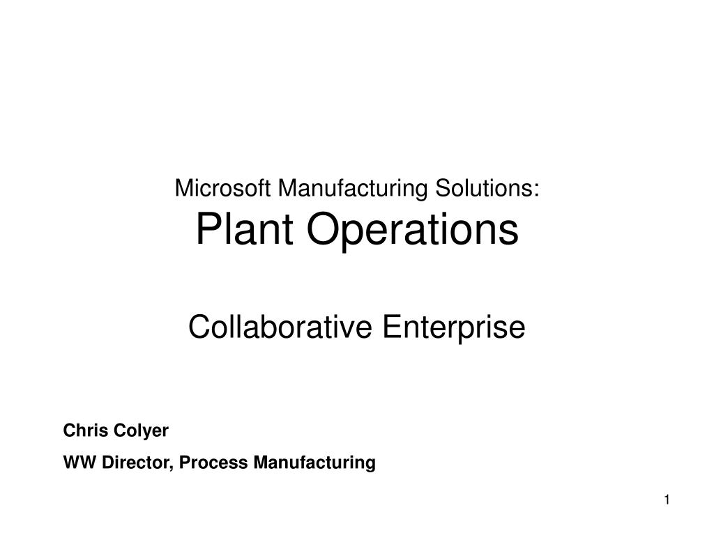 microsoft manufacturing solutions plant operations l.