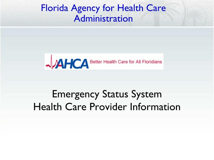 florida agency for health care administration n.
