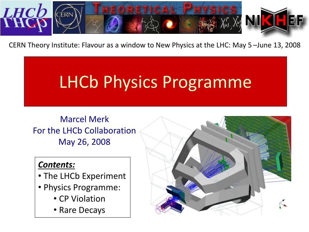 lhcb physics programme l.