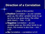 direction of a correlation