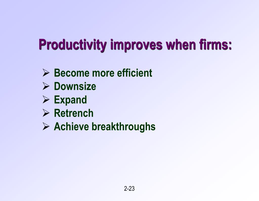 Productivity improves when firms: