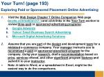 your turn page 193 exploring paid or sponsored placement online advertising