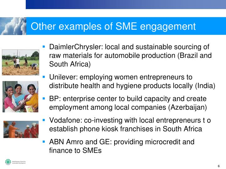 Other examples of SME engagement