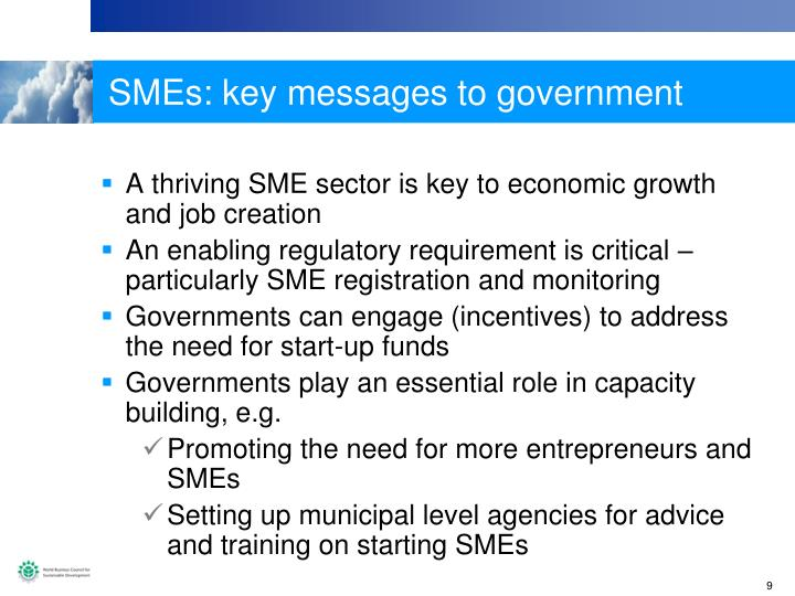 SMEs: key messages to government
