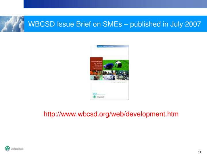 WBCSD Issue Brief on SMEs – published in July 2007
