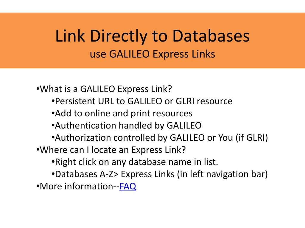 Link Directly to Databases