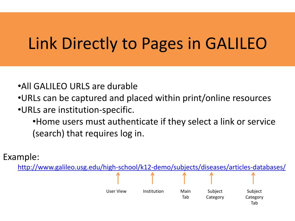 Link Directly to Pages in GALILEO