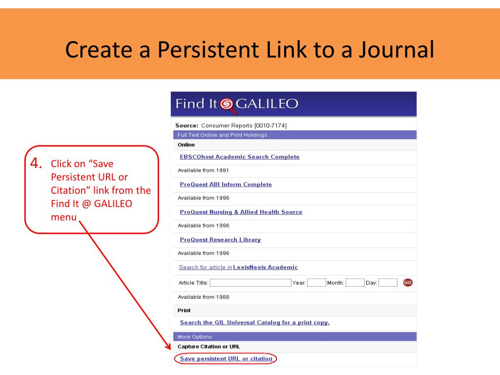 Create a Persistent Link to a Journal