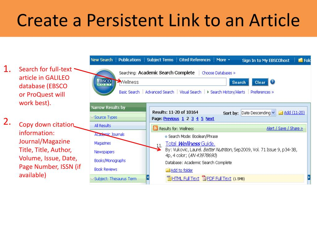 Create a Persistent Link to an Article