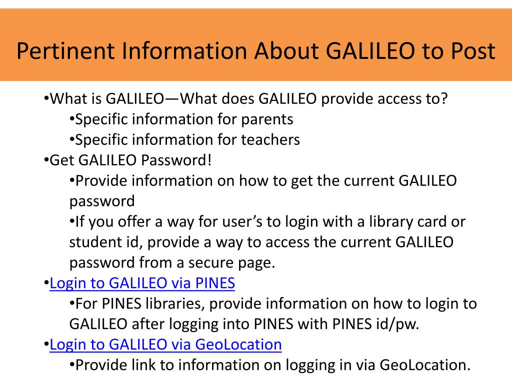 Pertinent Information About GALILEO to Post