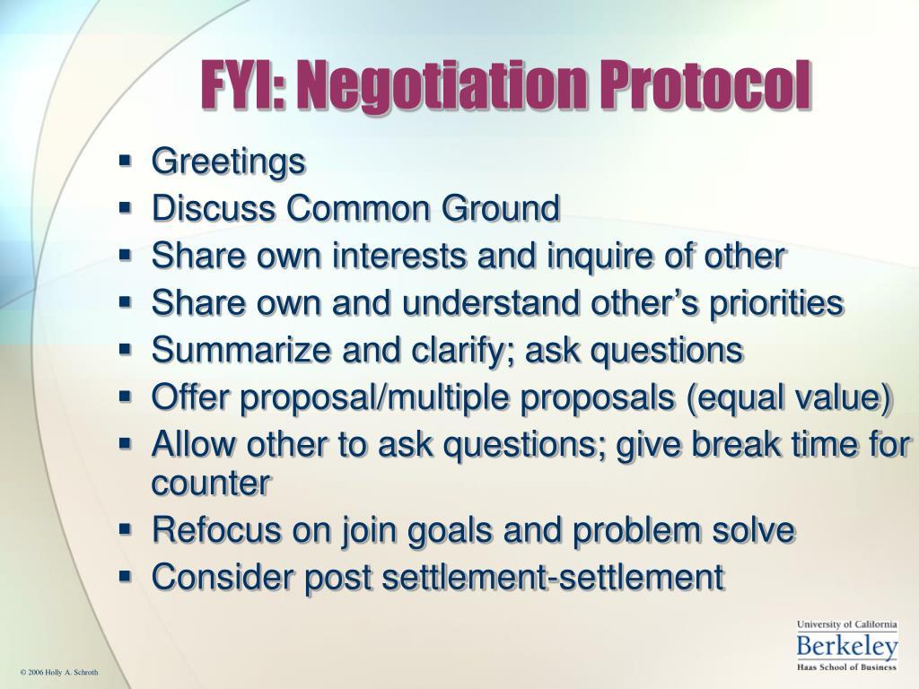 FYI: Negotiation Protocol