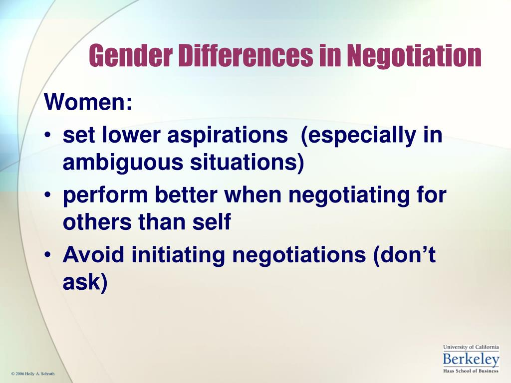 Gender Differences in Negotiation