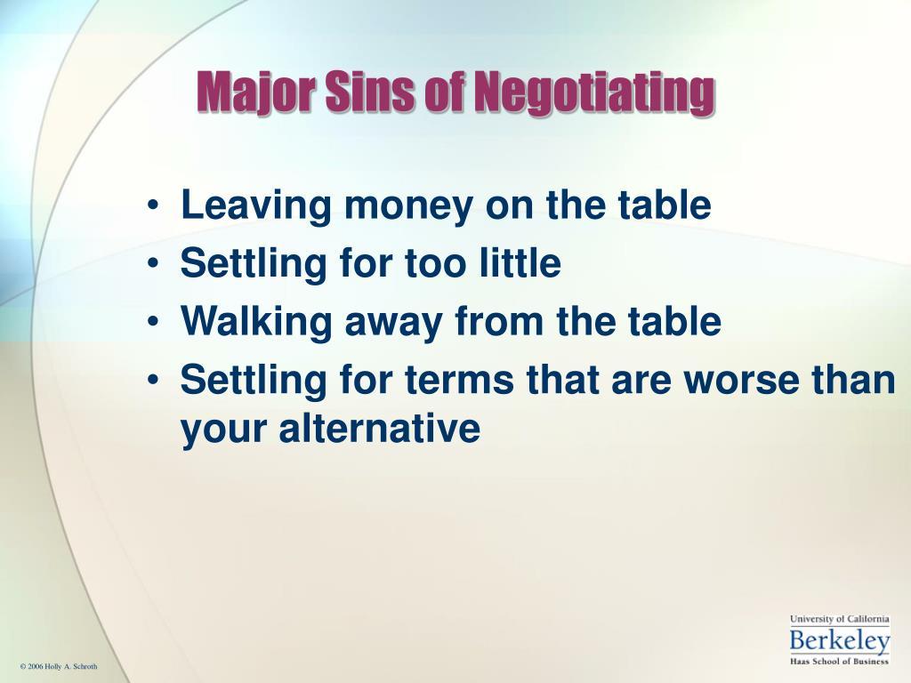 Major Sins of Negotiating