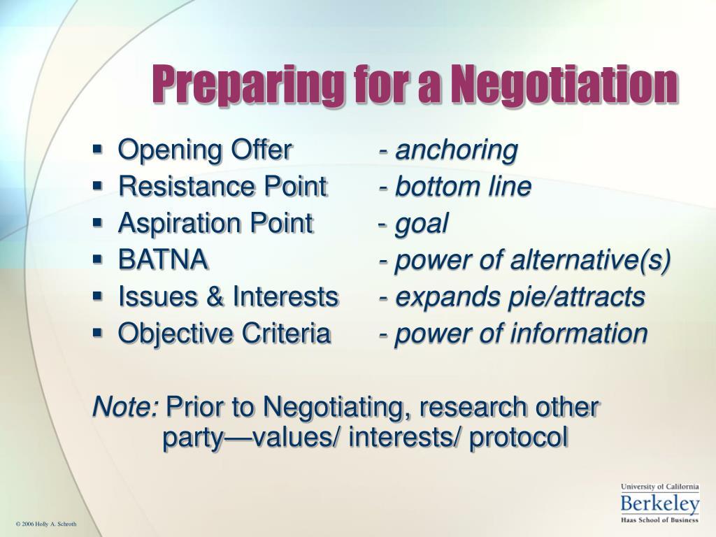 Preparing for a Negotiation